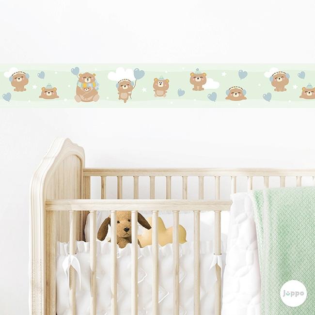 Mutlu Ayı Ailesi Sticker Duvar Bordürü - Yeşil