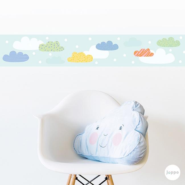 Mutlu Bulutlar Sticker Duvar Bordürü - Mavi