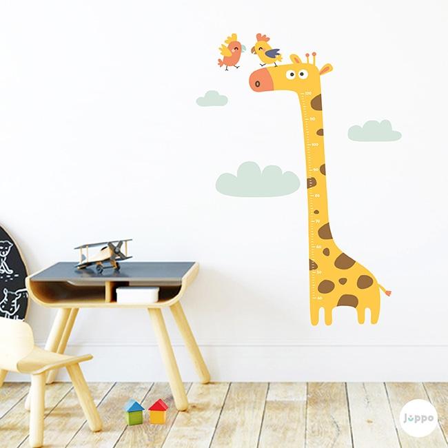 Zürafa ve Papağanlar Sticker Boy Cetveli