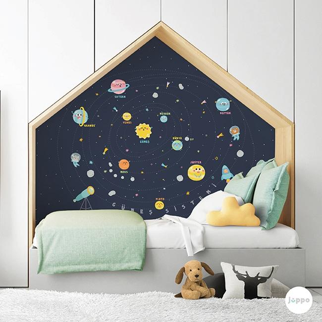 Güneş Sistemi Duvar Kağıdı Pano - Mavi