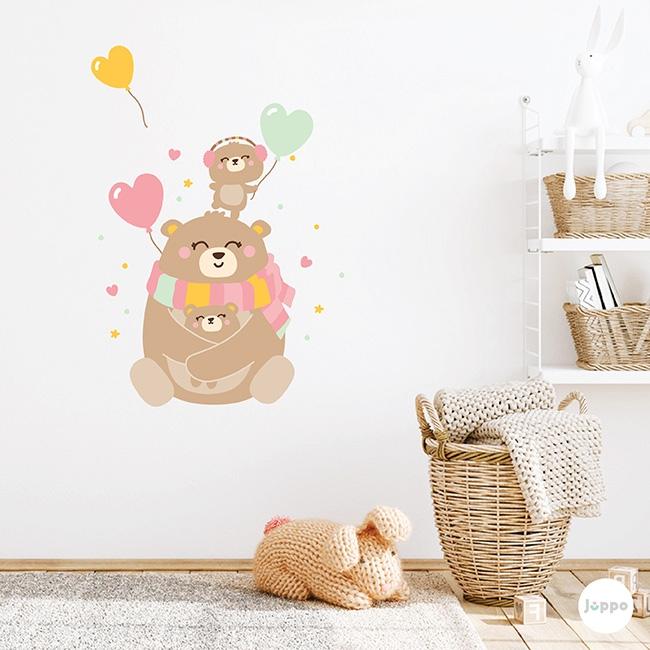 Mutlu Ayı Ailesi Duvar Sticker - Pembe