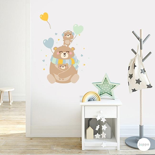 Mutlu Ayı Ailesi Duvar Sticker - Mint Yeşili