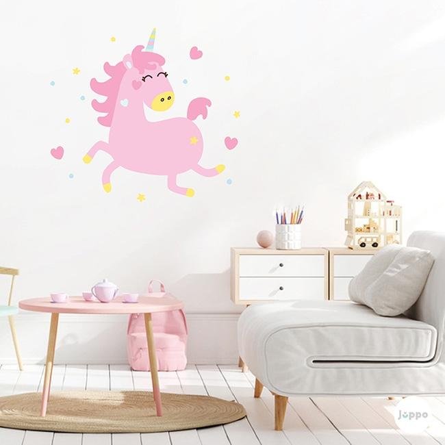 Uçan Pembe Unicorn Duvar Sticker