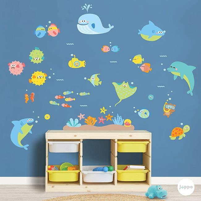 Renkli Su Dünyası Büyük Set Duvar Sticker