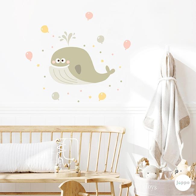 Sevimli Balina ve Balonlar Duvar Sticker