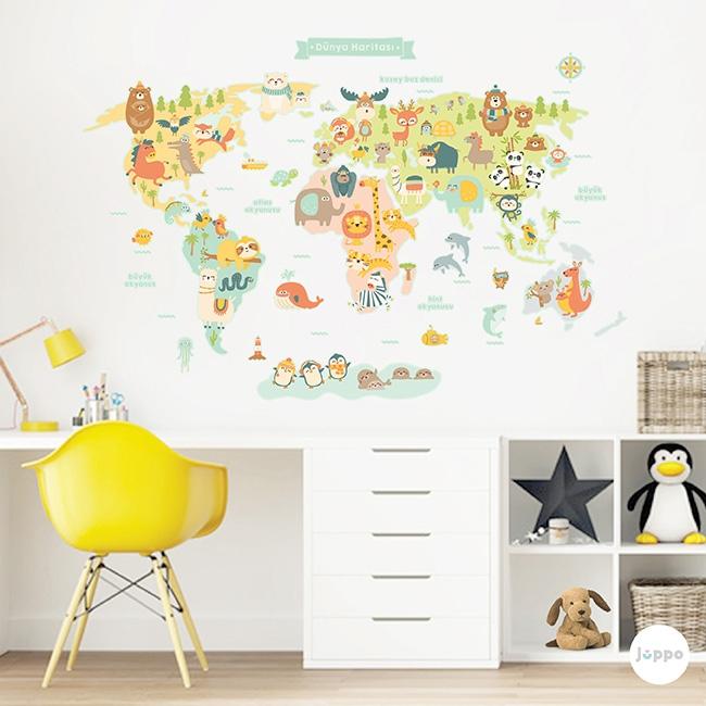 Hayvanlar Alemi Dünya Haritası Duvar Sticker