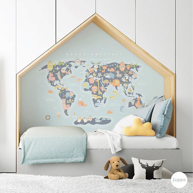 Dünya Haritası Duvar Kağıdı Pano - Mavi