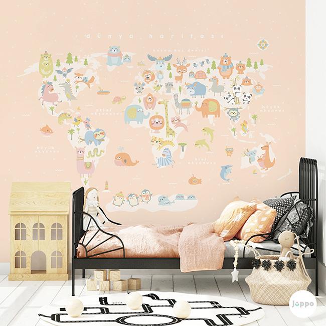 Dünya Haritası Duvar Kağıdı Pano - Pembe