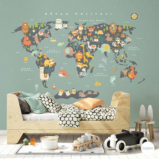 Dünya Haritası Duvar Kağıdı Pano - Yeşil